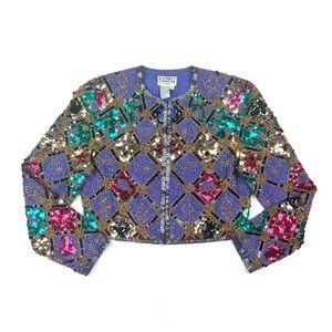 Kathryn Conover • Purple Silk Beaded Bolero Jacket